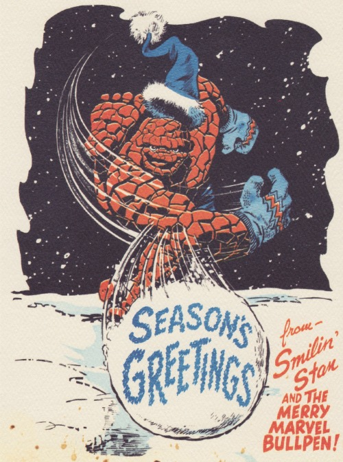 seanhowe:  Season's Greetings from Smilin' Stan and the Merry Marvel Bullpen! Also, the Thing!