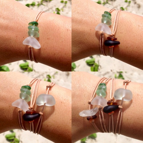 Hawaiian Beach Glass Adjustable Stackable Leather Knotted Bracelets Handmade with Aloha! ….surfer chic….