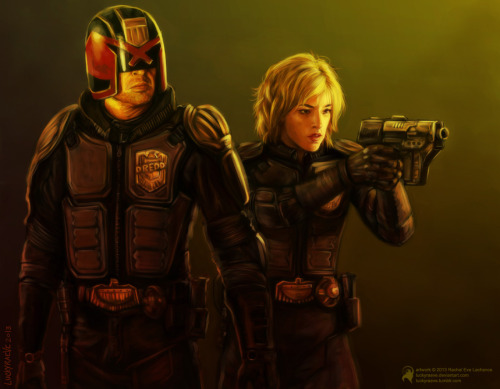 'Dredd & Anderson'Judge Dredd and Judge Anderson…again…because I <3 them.Paint Tool Sai. 10 hours.