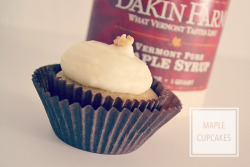 thegirlkyle:  THIS is what I made over the weekend! Maple syrup cupcakes, made with syrup shipped all the way from Vermont by my very good friend. {Click photo for recipe}