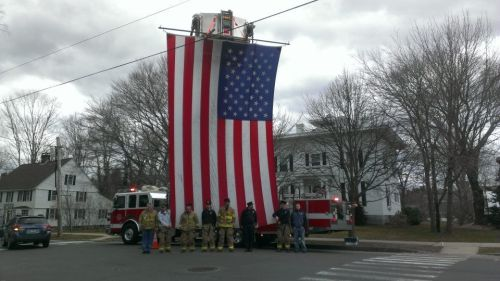 NEWS 8 Report It Photo of the Day: Guilford Fire pays respect to their fallen local solider, Captain Andrew Pedersen-Keel. Photo sent in via Report It by Michael Perez.