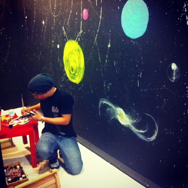 A little #mural action going on inside #Loft55gallery to prepare for our next #artist #solo #show tonight (12/19/13). Our featured #artist is #AdrienneHLee as we present her #CosmicFish #exhibit!! Show starts at 7p-10p, don't forget to bring an #unwrapped #toy for #XL106.7 #BabyDj!