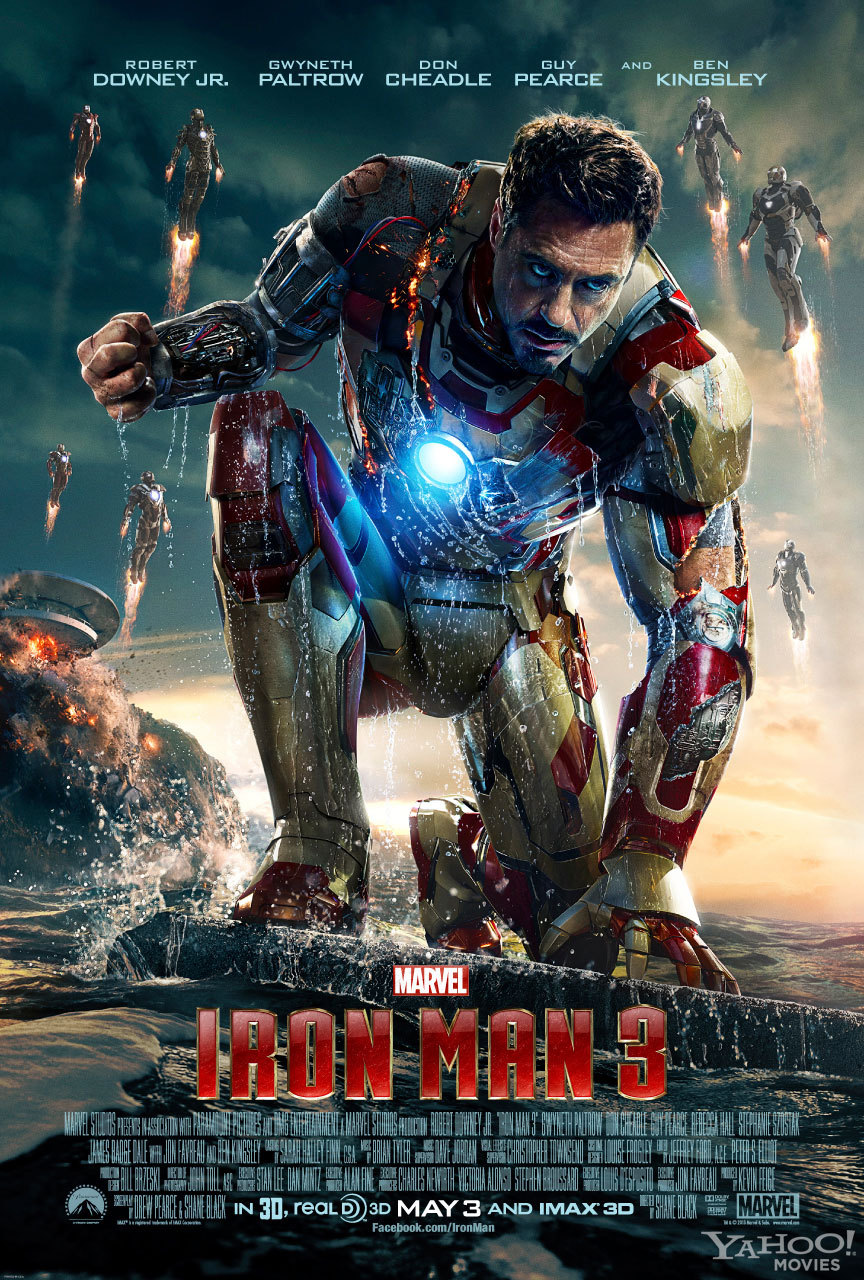 No Spoilers Iron Man 3 (2013)      When Tony Stark's world is torn apart by a formidable terrorist called the Mandarin, he starts an odyssey of rebuilding and retribution.      Iron Man 3 was fun but it wasn't as exciting as The Avengers or X-Men.  It has non stop action. It's a huge improvement from Ironan 2!. There IS a scene after the credits but it isn't anything exciting..sorry :) My favourite character was the Mandarin :) It is an enjoyable film so do check it out!