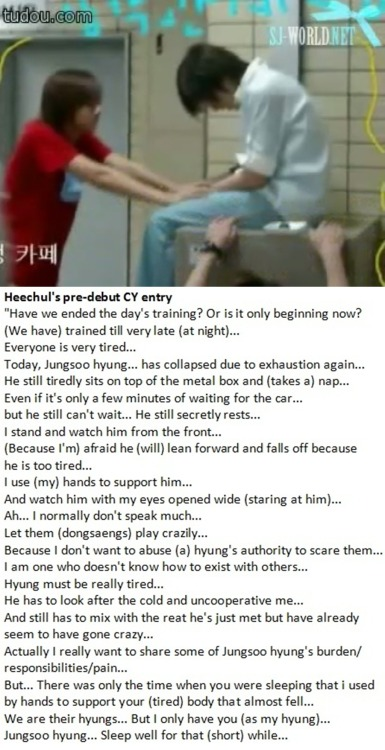 foufoua:  [pre-debut story] Heechul to Leeteuk… prepare your hearts to read this :')