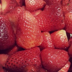 Snack for the night! #strawberries #fruits #sweet #food #snack