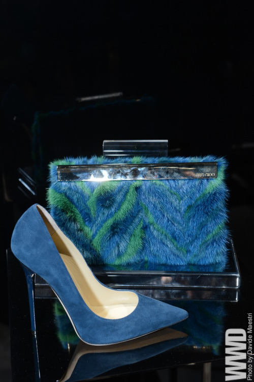womensweardaily:  Jimmy Choo's blue mink herringbone clutch and sexy blue suede pumps added a touch of va-va-voom for fall.