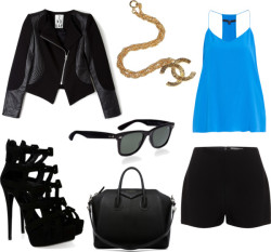 black by dbreck featuring wayfarer style sunglassesTIBI cami shirt / 2nd Day genuine leather jacket / Alexander McQueen black shorts / Giuseppe Zanotti high heel platform shoes / Givenchy genuine leather handbag / Wayfarer style sunglasses