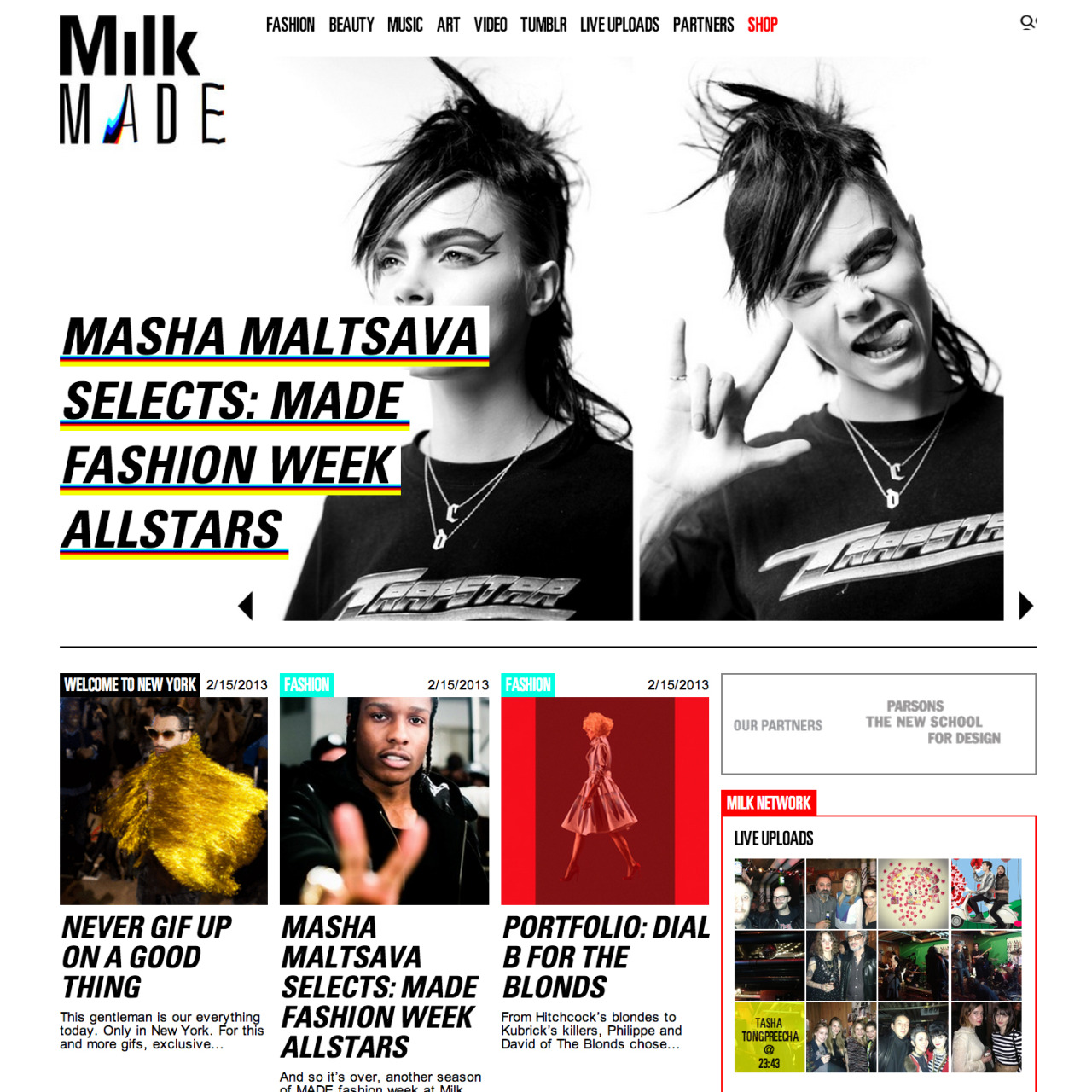 Big Thanks to Milk Made for the feature! <3 Follow the link to see photos of Cara Delevingne, A$ap Rocky, Theophilus London, Terry Richardson and others… http://milkmade.com/articles/1866-MASHA-MALTSAVA-SELECTS-MADE-FASHION-WEEK-ALLSTARS