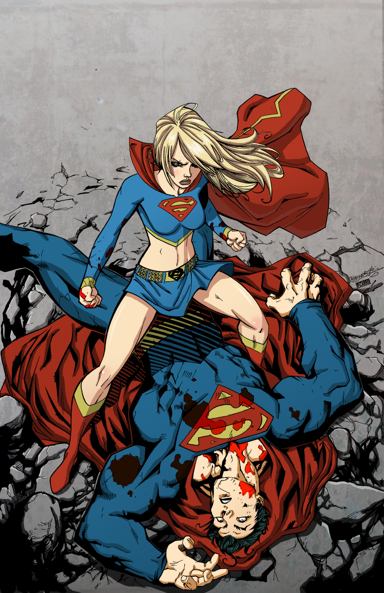 supermanblog:  sourjon:   Supergirl Superman by Ale Garzaby *VPizarro626   http://superman-blog.com/