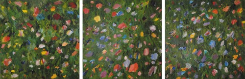 "Field of Flowers Acrylic on Canvas, Tryptich, 24""x24"" eachThe Drexel Collection, Miami"