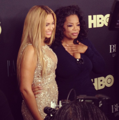 "Oprah supporting Beyonce at the premiere of herHBO documentary ""Life Is But A Dream"" in NYC on Tuesday"