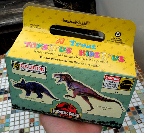 "dinosaurdracula:  Toys ""R"" Us used to give away these awesome cardboard lunchboxes full of samples during the '90s. Here's a look at the Jurassic Park version!"