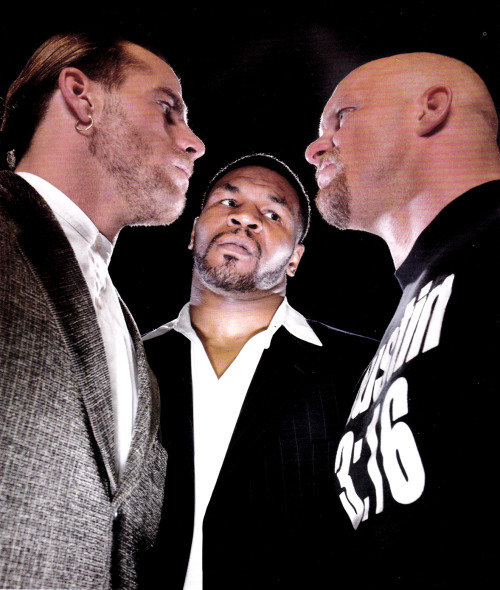 "Shawn Michaels, Mike Tyson, and ""Stone Cold"" Steve Austin WrestleMania XIV Promotional Shot [1998] Eric Bischoff on the WWF bringing in Mike Tyson for WrestleMania XIV, taken from his 2006 book Controversy Creates Cash:  ""Looking back, the storyline itself was relatively simple but extremely effective. WWE developed a feud between Stone Cold Steve Austin and Vince McMahon. Vince wanted to bring Tyson in as a world-class athlete to shake things up. Austin took exception. All the buzz around Tyson upped the excitement level exponentially. Even to this day, as I go back and look at it, they set the angle up beautifully. They wove in enough reality to get the audience to that important point where they would suspend disbelief. To this day then I see it, it feels real. This wasn't a storyline that appealed to a twelve-year-old kid. This was aimed at young males in the workforce, people who'd be upset at being passed over for a promotion, people who'd resent their boss, who had something to prove. It appealed to fans who wished they could spit in their boss's eye. One of the keys to the angle's success was Vince McMahon's decision to put himself out there as the owner of the company, something he hadn't been willing to do until now. And they couldn't have picked a better guy than Mike Tyson to give their show an edge. Tyson had edge the was dangerous — times ten. The Pay-Per-View helped Steve Austin launch his bad-ass, rattlesnake character to the moon, Everybody wanted to see a wrestler stand up to Tyson and put him in his place, and there was nobody better to pull that off than Steve Austin. Once I saw the tape, I knew we were in deep shit."""