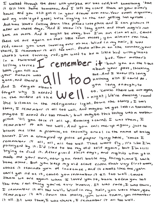 fearlessfangirl:  I remember it all too well. TSwift Handwritten Lyrics