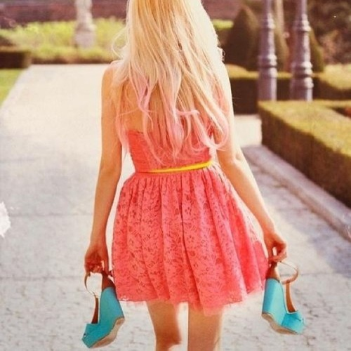 #hair #hairstyle #pink #ombre #cute #pretty #love #dress #wedges #shoes #coral #spring #attire #fashion #style #igfashion #igstyle #trend #flowers #shoes #shoegame #outfit