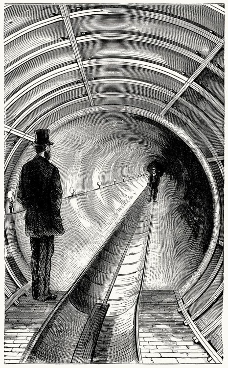 oldbookillustrations:  Section of the Broadway underground railway.  From The underground world, by Thomas Wallace Knox, Hartford, 1877. (Source: archive.org)