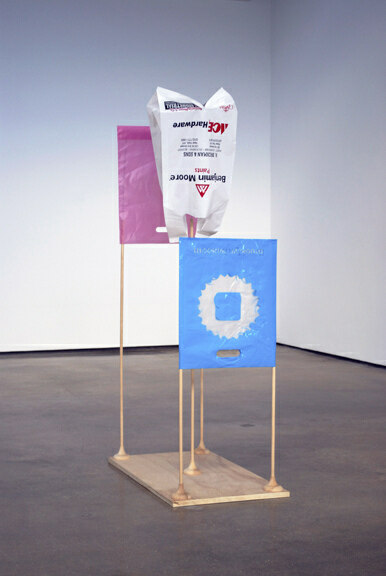 galleria-ari:  B. Wurtz, Untitled, 2012. Wood, wire, and plastic bags; 57 x 16 3/4 x 31 in.