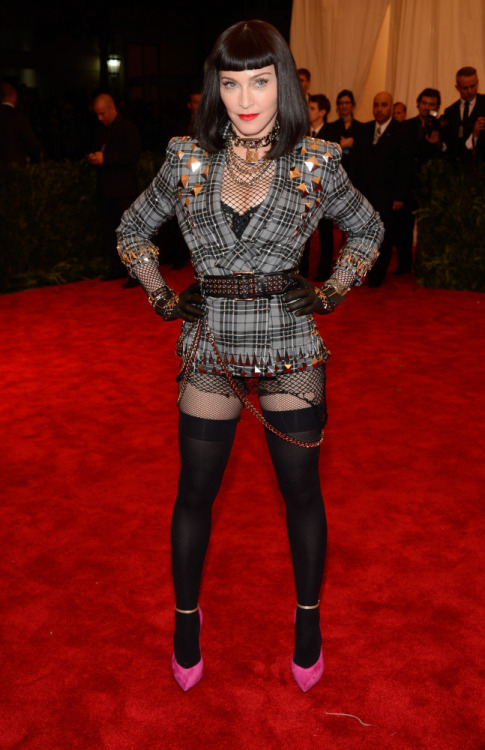 morbidfashion:  omgthatdress:  Madonna actually looks fantastic.  I love this look.  Then again, I'd lose my faith in humanity if Madonna got punk wrong.  YES, all kinds of yes.