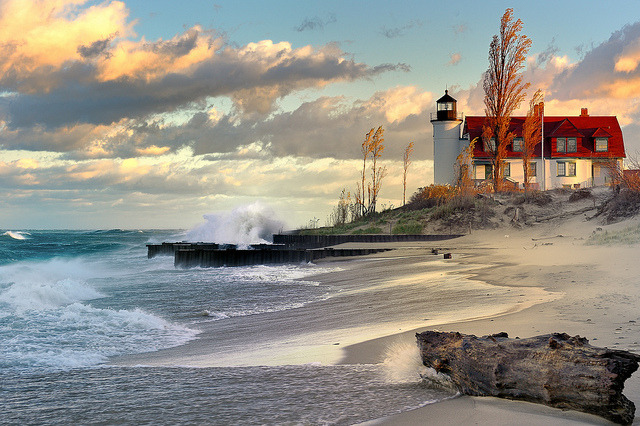"""Lighthouse Dawn""  Point Betsie Lighthouse, Lake Michigan        Front page explore # 2 Oct. 31, 2010 by Michigan Nut on Flickr."