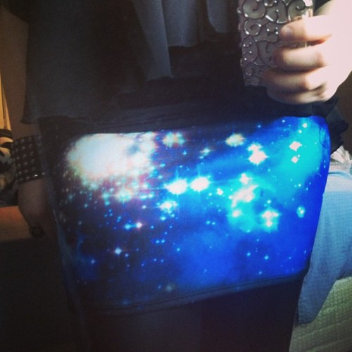 I love my new skirt. #galaxy #pattern #skirt #hot #topic #fashion #meow #black #blue #girl
