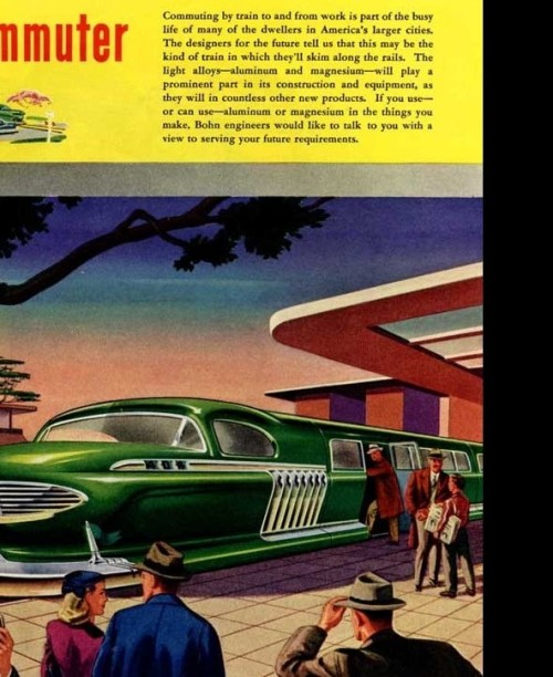 Commuter train in Bohn's 'Visions of the Future' Ads, 1940s