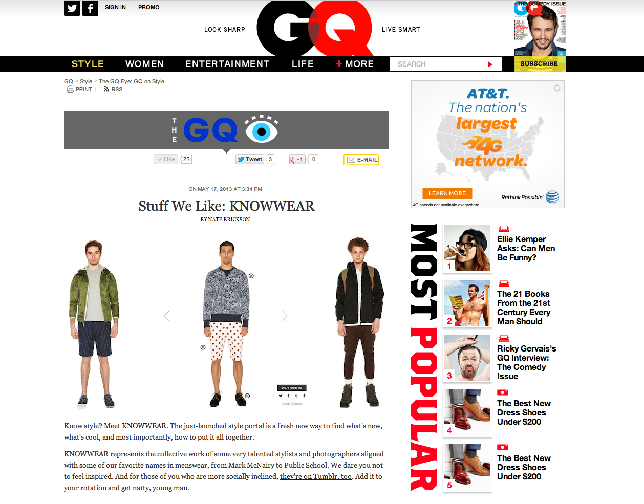 KNOWWEARfeatured on the GQ eye - www.gq.com/style/blogs/the-gq-eye/2013/05/stuff-we-like-knowwear.html?mbid=social_twitter_gqfashion