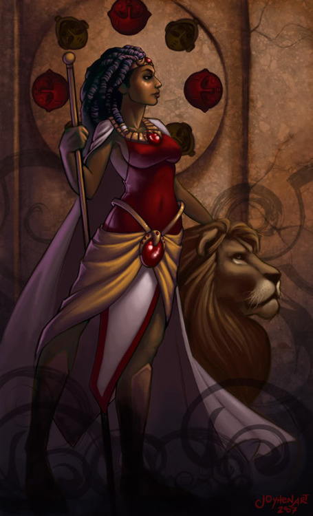 "soul-service:  OYA  African goddess Oya is a Goddess of Storms. She represents feminine leadership - invoke Oya when you are in need of strength in your quest for leadership and authority.   MANTRA  * Strength   GEMSTONES  * Garnet, bloodstone, tourmaline, smoky quartz (red stones)   AFFIRMATIONS  * I trust the Universe to provide  * It's OK to release my anger  * There are rainbows in every rainfall  * My new life path reveals itself to me  * I relinquish destructive influences  * I welcome Oya's recuperative power   Her Story   African deities (orishas) are usually represented by flowing, swirling images of colour and movement, depicting the elemental energies rather than an anthropomorphised image. Oya, goddess of storms, tempests and rain, dances in spirals representing tornadoes and wind - the winds of change, sweeping away the old in order to prepare for the new. She wreaks destruction in order to find and prepare for underlying calm.   She was the wife of Shango , Lord of Thunder and Fertility, and together they fight side by side creating thunder, lightning and destruction. She is goddess of the marketplace, bringing fortune to her patrons. And she is the only African orisha brave enough to confront death - she is goddess of funeral processions and cemeteries (cemeteries being known as ""Oya's Garden"").   Her Modern Energy   Oya embodies the fiery passion that is buried in the feminine psyche. Unleashed, she is warrior woman, armed and helmeted fighting injustice and forging victories. If you invoke Oya, be prepared to deal with the consequences! Or, if she is presenting herself to you in your life, be prepared to be tossed in her storms but be comforted in the knowledge that she is here to teach you about personal will and sense of purpose.   Mother of transformation, patron of feminine leadership, trust Oya to travel with you through this time of change. Welcome her lessons she is here to teach you, for without the rain we don't get rainbows (another symbol of Oya).   Oya is related to our base chakra, home of the kundalini energy. When our base chakra is in balance, we feel secure, alert, stable - our lives are full of active and positive energy. If you are not feeling like this, it is no wonder Oya is speaking to you today.   Reconnect With Your Inner Oya   Make a shrine to Oya with red foods such as plums, grapes and red wine, and on the next dark moon honour her in a meditation. Sit on the floor, close your eyes, and while nurturing a related gemstone, feel your spine grow and take root in the earth. Feel the strength of the earth energise your spine and your body. Reach up high and stretch for that rainbow that is formed over your head, arching over your body radiating love, calm, and protection. You are indestructible! You are strong!   Go Warrior Woman!!   What Would Oya Do?   … If she were in your situation, she would huff and puff in order to bring about a simpler life. She would welcome the winds of change and not be precious about what gets blown away. And, she would jump in puddles, chase rainbows and savour the calm after the storm.   (Excerpt from What Would Goddess Do? A Journal For Channelling Divine Guidance by Anita Revel)    Love and delight  Anita Revel  Creatrix :: Goddess.com.au"