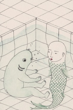 redlipstickresurrected:Artist On Tumblr: Harriet Lee-Merrion aka Harriet Lee Merrion (British, b. 1991, Sheffield, UK, based Bristol) - 1: Mask from Beginning Middle End series 2: Fish Baby; Opposites' themed postcard for an Illustration exhibition 3: Phrenology 4: Unknown 5: Balloon from Beginning Middle End series 6: For GEO magazine, based on accounts of lucid dreams. 7: Illustration to accompany poetry by Deva ONeill in Neutral Norway II 8: Womb 9,10: Unknown Titles