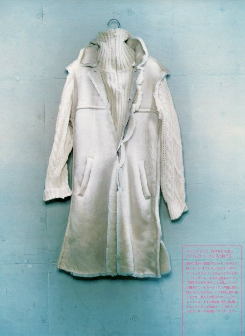 "vroomheid:  Undercover autumn / winter 1998-99 Exchange Michael Koppelman of London-based streetwear organisation Gimme 5 has collaborated with Takahashi on one-offs and special projects for his hideout store since it opened in 1998. 'At the time of the ""scab"" collection, some of Jun's assistants came over to london,' he anecdotalises, 'and they told me that a lady selling fruit on oxford street came and gave them some bananas, because she thought they were homeless. They were happy, not only because of the random act of kindness, but also because it meant the clothes seemed real. That's the difference between what Jun does and what others do; it's not based on ""yachting"" or something, it's based on street culture. — koppelman on takahashi's special projects"