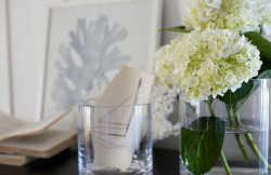 Sweet hydrangeas in glass vessels