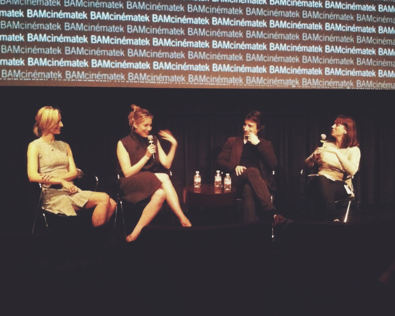 Mickey Sumner, Greta Gerwig, and Noah Baumbach  At Bam Cinematek in Brooklyn