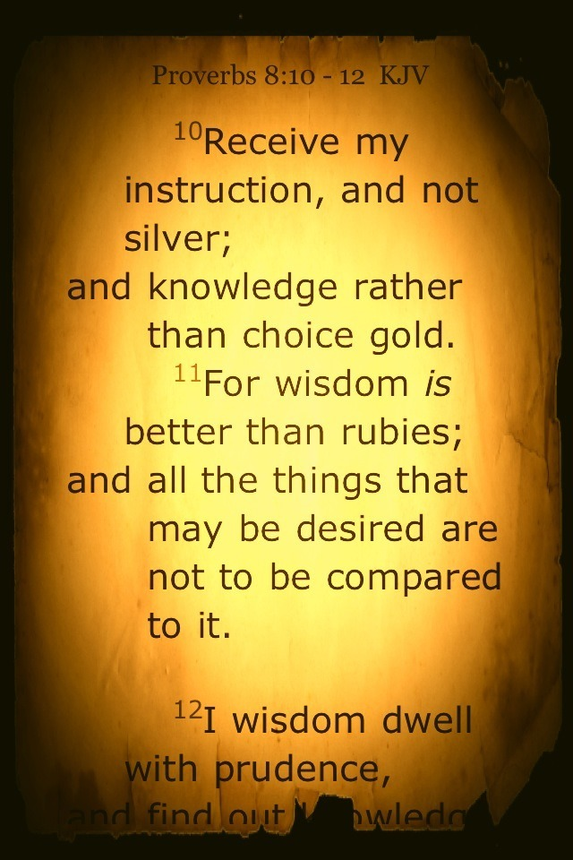 """Receive my instruction, and not silver; and knowledge rather than choice gold. For wisdom is better than rubies; and all the things that may be desired are not to be compared to it.""   ~King Solomon (Proverbs 8:10-11)"
