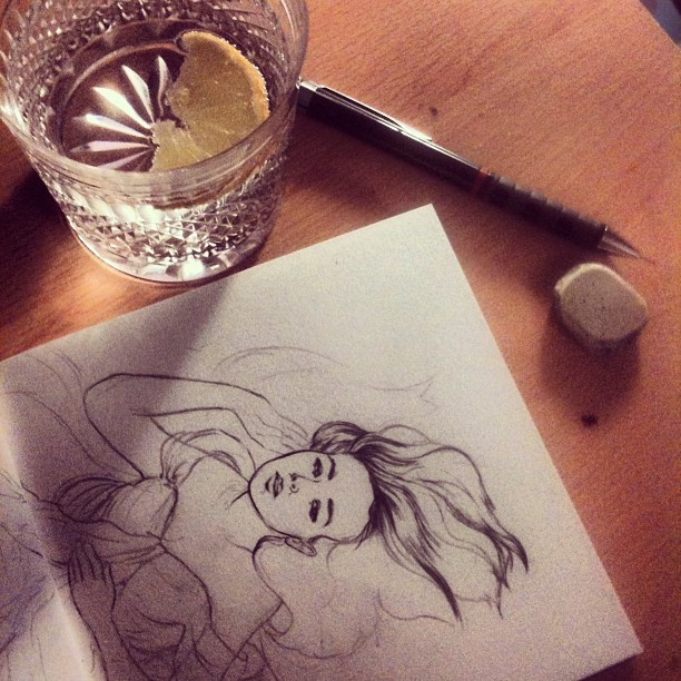 It wouldn't feel like home without a gin & tonic and a sketchbook!