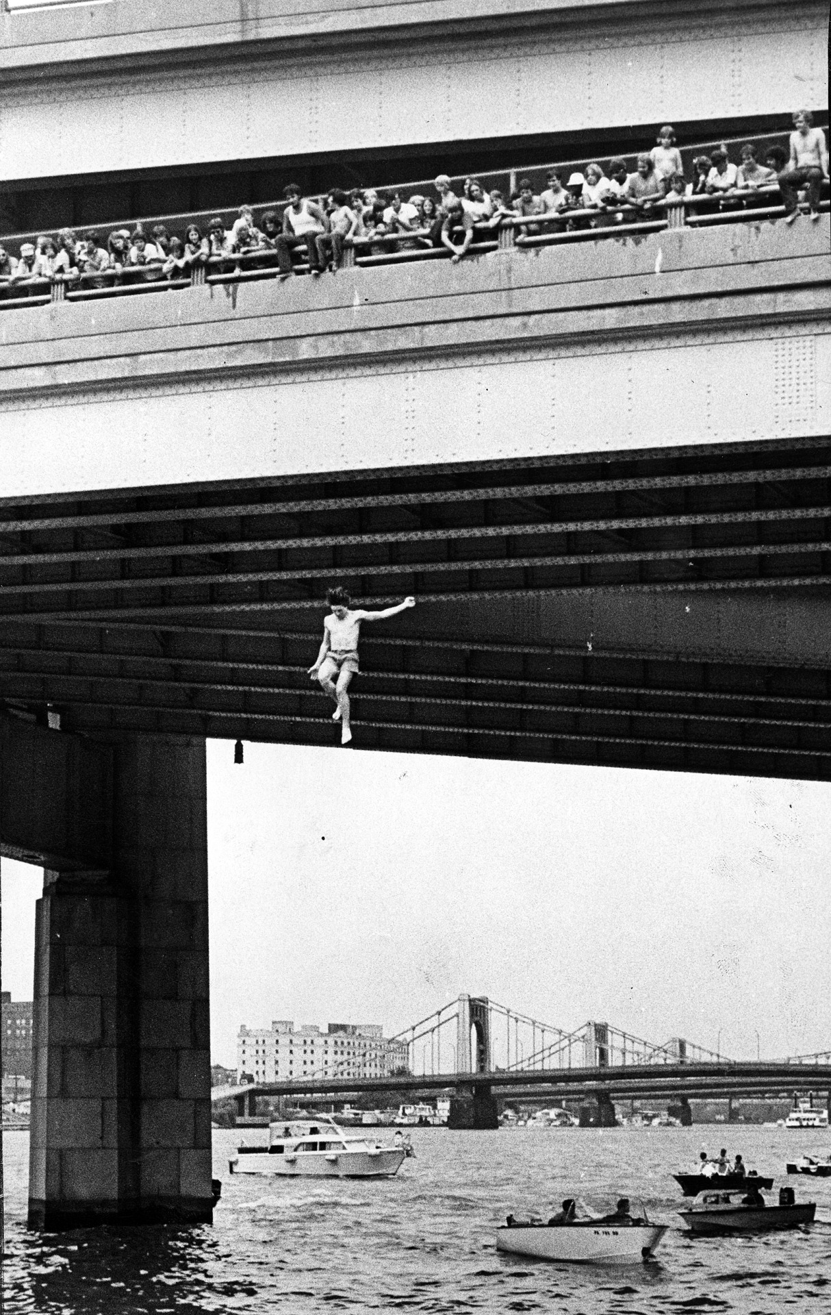 Bridge Jumpers (Photo by Anthony Kaminski, Pittsburgh Press).