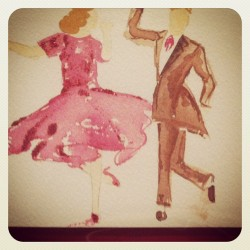 Wish I could dance like #GingerRogers. #illustration #watercolour trying out some #glitter