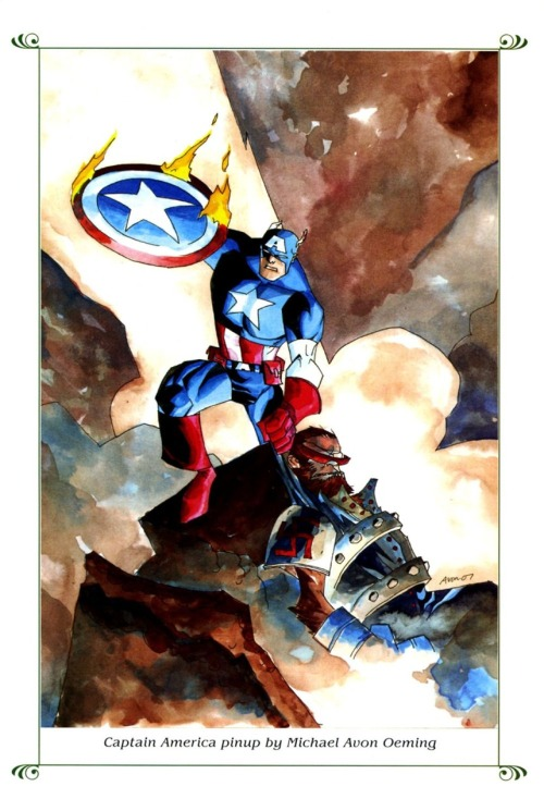 oeming:  Captain America watercolor