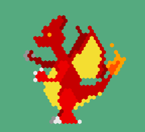 I came across Hexels while procrastinatin', so I thought I'd try it out. I tried makin' a Charizard, a-ahahah… Hexels is pretty cool, I think I'll actually attempt somethin' geometric later~
