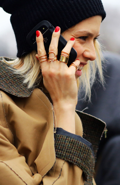 (via Le Fashion: ELENA PERMINOVA | BALENCIAGA GOLD RINGS | PARIS FASHION WEEK)