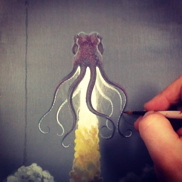 Blast off octopus. #tentacle #art #painting #wip #spaceship