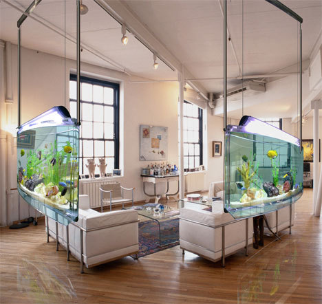 designed-for-life:  Living Room Fish Tank Aquarium There is no need to settle just for a rectangle-shaped aquarium any longer. Nowadays there are plenty of designs to choose from. You can buy inexpensive fish tanks which can be spherical, heptagonal, slender, as well as tall, as well as tank for your fish aquariums that will fit in a corner with the room.