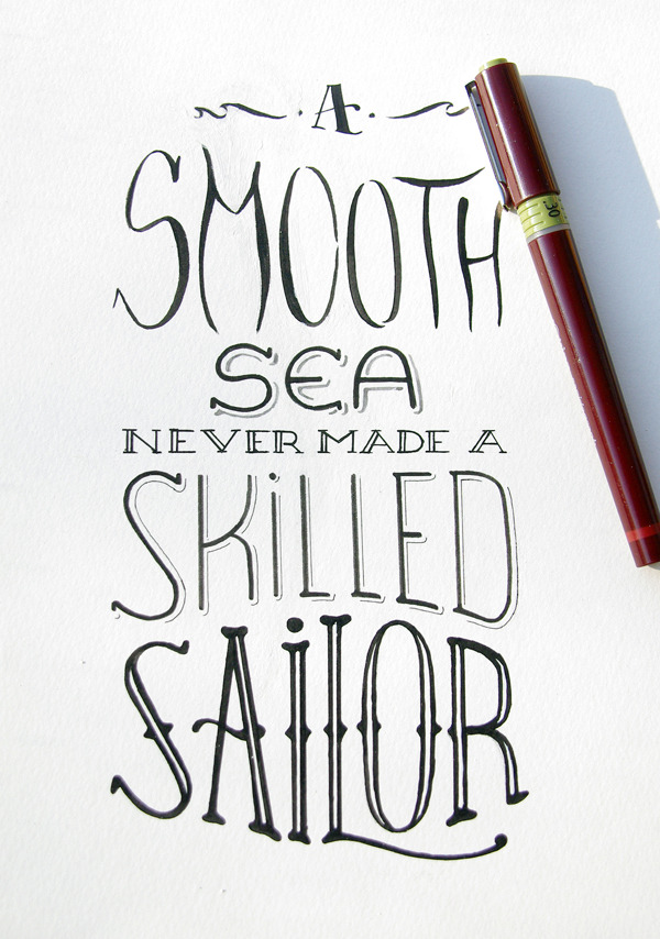 betype:  Hand drawn type. A smooth sea