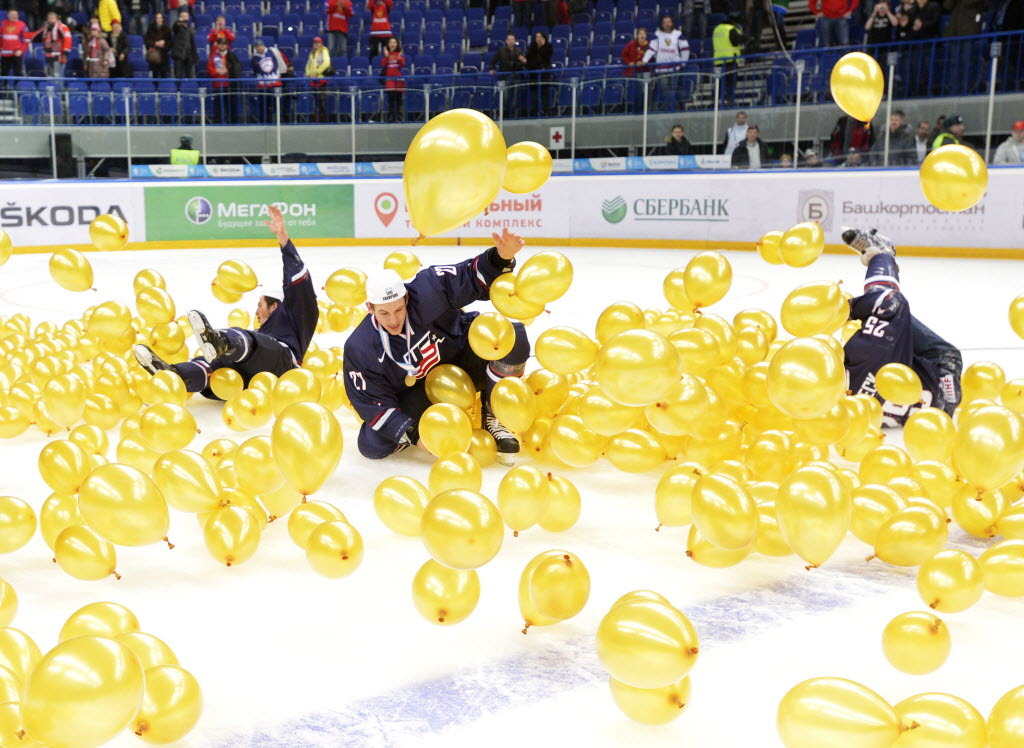 Team USA celebrates in balloons after defeating Sweden during third period gold medal hockey action at the IIHF World Junior Championships in Ufa, Russia. (Photo: Nathan Denette/The Canadian Press)