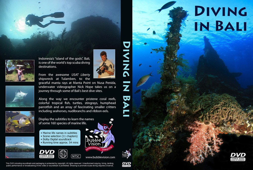 "My DVDs are now manufactured and shipped by CreateSpace, a subsidiary of Amazon, and I designed a new sleeve for my ""Diving in Bali"" DVD. You can still find them at http://www.bubblevision.com/marine-life-DVD.htm"