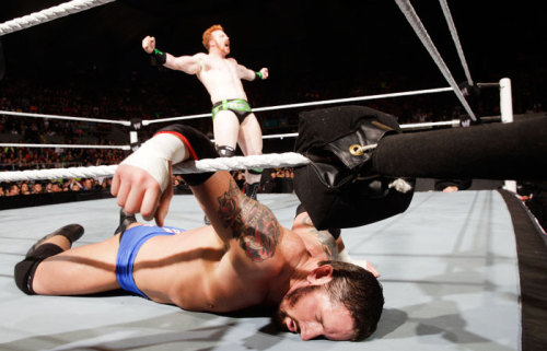 Awesome Shot of the Night!  This was Sheamus about 10 seconds before disaster struck, standing tall over Wade Barrett after he finished their Raw match by leveling the IC Champ with a Brogue Kick. Unfortunately, the celebration was short-lived, as Mark Henry stormed the ring moments later, lashing the Celtic Warrior with a belt as a shocking precursor to their match at Extreme Rules.