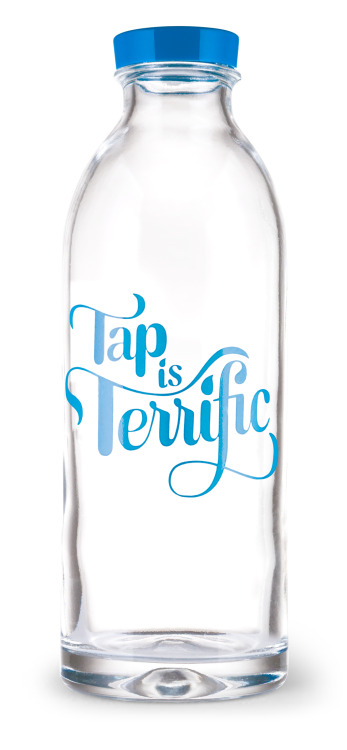 goodtypography:  Tap is Terrific water bottle by Faucet Face