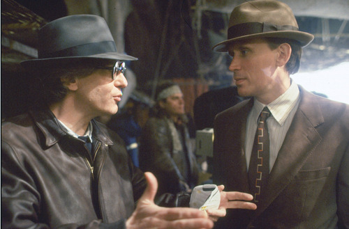 David Cronenberg with Peter Weller on the set of Naked Lunch