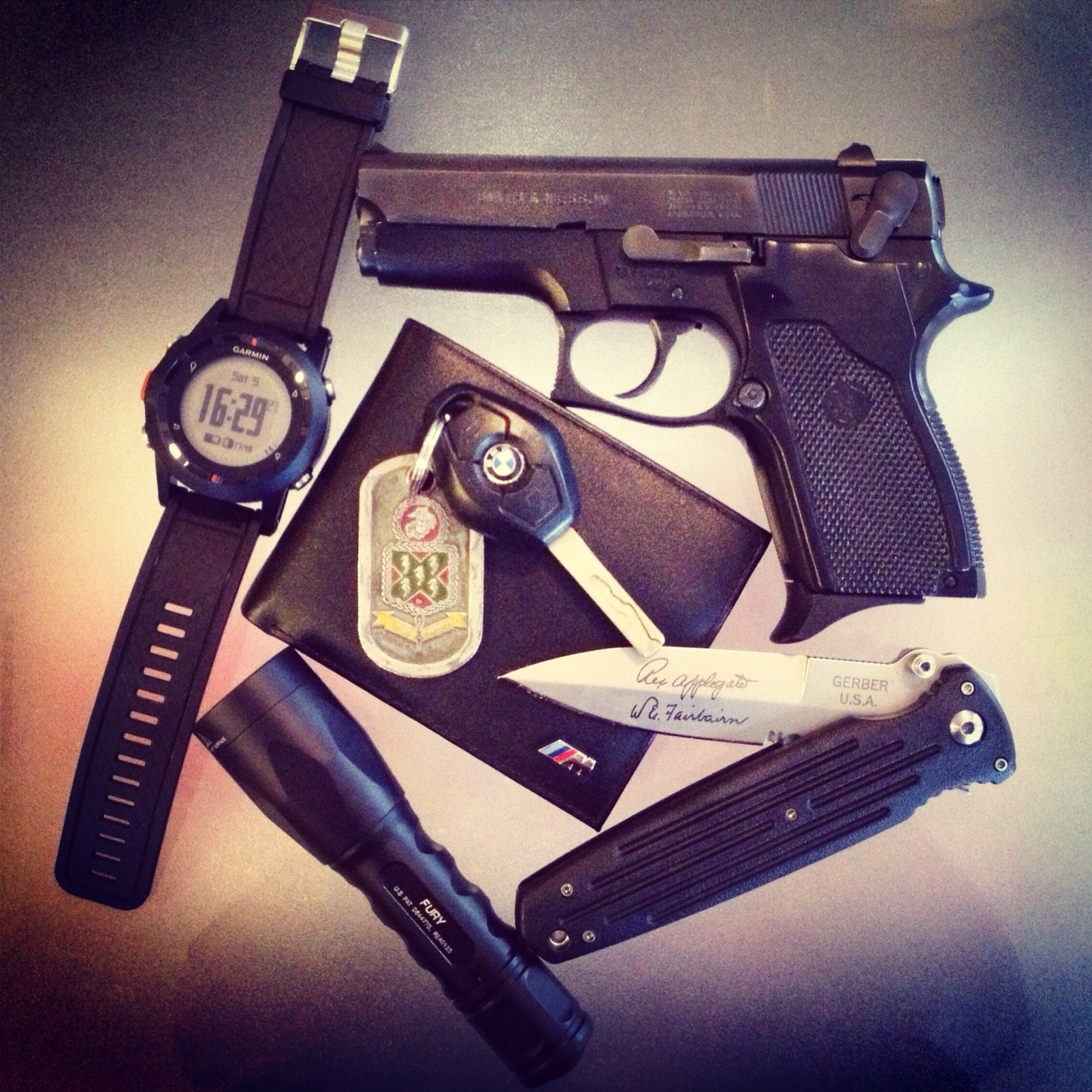 Everyday Carry Submitted By: cullen61918 S&W 469 w/ Hornady Critical Defense Ammunition Gerber Applegate Combat Folder - Purchase on Amazon Surefire Fury - Purchase on Amazon Garmin Fenix - Purchase on Amazon BMW M Wallet - Purchase on Amazon BMW E46 M3 Key w/ 5th Marines 230th Marine Corps Birthday Ball Coin