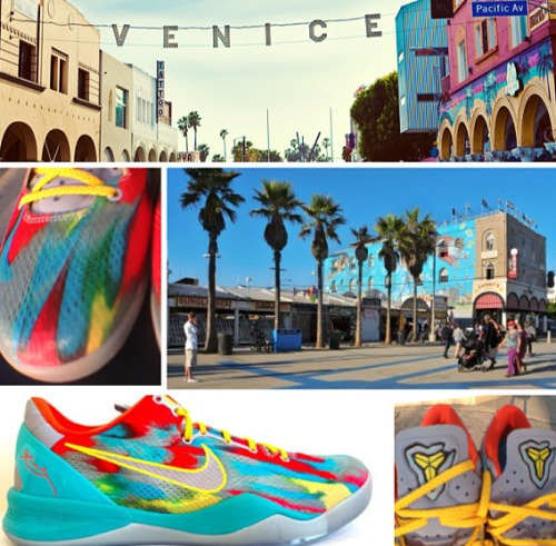 Nike Kobe 8 System - Venice Beach/Outdoor  Releasing May 25, 2013 for $150.00 USD via Nike Insider. The bright colors from the buildings and throughout the area inspire the colors on the sneaker. Love the concept. Check out kb824.com for more info and photos.