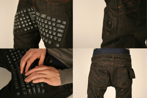 "parislemon:  brucesterling:  Erik De Nijs conceptual keyboard pants, photo by Tim Smit.  A design-fiction from Utrecht School of the Arts.  Just typing on my jock, no biggie.  Can I get these in <a href=""http://colemak.com"">Colemak</a> please?"