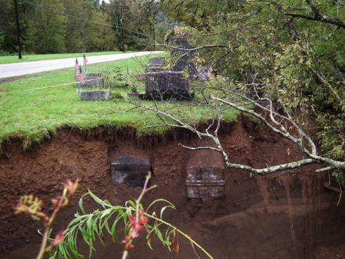Washed out graves caused by flood in Lawton, PA http://thecemeterytraveler.blogspot.ru/2011/09/washed-out-graves.html
